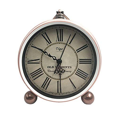 Saytay Classic Retro Desk Clock, European Style Vintage Silent Desk Alarm Clock Home Decorative Clock Non Ticking Quartz Movement Battery Operated HD Glass Lens, Easy to Read (Roman No. White) (Classic Desk Clock)