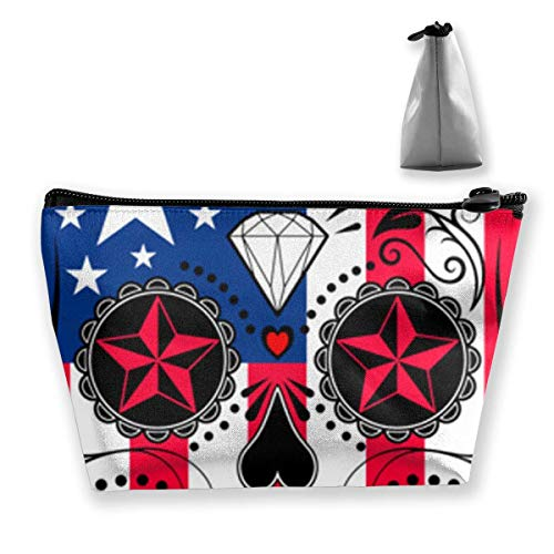 Makeup Bag Cosmetic Bag Travel Make Up Pouch Toiletry Case with Zippered Pocket for Women and Girls American Flag Patriot Skull -