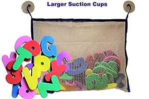 Lettres et chiffres de bain avec jouet de bain Organiseur de bain. Educational Toys avec Premium jouet de bain Filet de rangement avec de grandes ventouses et non toxique Sans BPA en mousse lettres