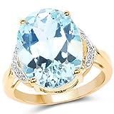 Ring Sterling-Silber 925 14 Karat (585) Gelbgold, echter Blautopas und weißer Topas 11,32 Karat