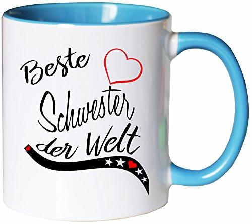 Mister Merchandise Kaffeebecher Tasse Beste Schwester der Welt Tochter Geschenk Danke Familie Weihnachten Teetasse Becher Weiß-Hellblau