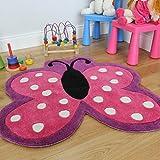 Suave alfombra para niñas con diseño de mariposa rosada con lunares. Resistente al deshilachado. 90 x 90cm