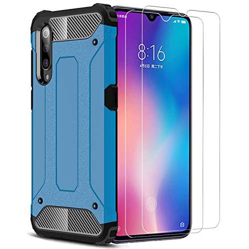XIFAN Xiaomi Mi 9 SE Funda, protección contra Golpes de TPU + PC Resistente a arañazos (Doble Capa), Funda Carcasa para Xiaomi Mi 9 SE, Azul + 2 Piezas Protector de Pantalla