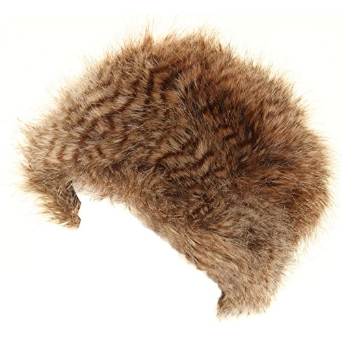 Ladies Brown Russian Style Winter Long Faux Fur Pillbox Hat Womens Skiing