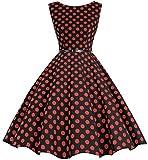 bbonlinedress 50s Retro Schwingen Vintage Rockabilly Kleid Faltenrock Black Red Big Dot 2XL
