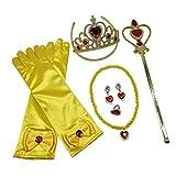 Sharplace Mädchen Prinzessin Belle Kleid Kostüm Zubehör Set aus Diadem, Handschuhe, Zauberstab und Schmuck - Gelb