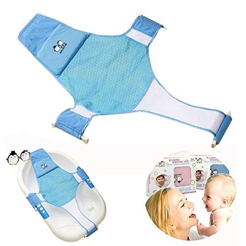 Middeleton Baby Badesitz verstellbar Badewanne Unterstützung Baby Baumwolle kreuzförmige Bett Bad Baby Bad net Baden Grid(Blau) (Blau)