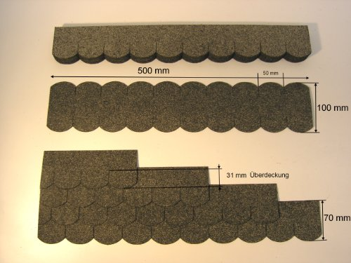 "Mini Dachschindeln Biberschwanz (50 mm) - Grau "" 23.413 "" Dachschindel"