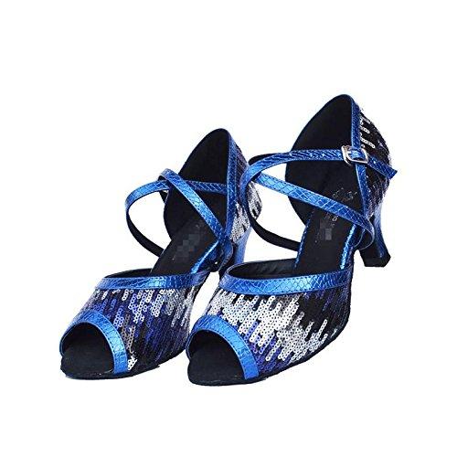 Byjia Chaussures De Danse Pour Femme Salsa Latin Tango Suede Sandales En Cuir Suede Leather Soft Résoudre Boucles En Talons Hauts Paillettes Flash Blue B