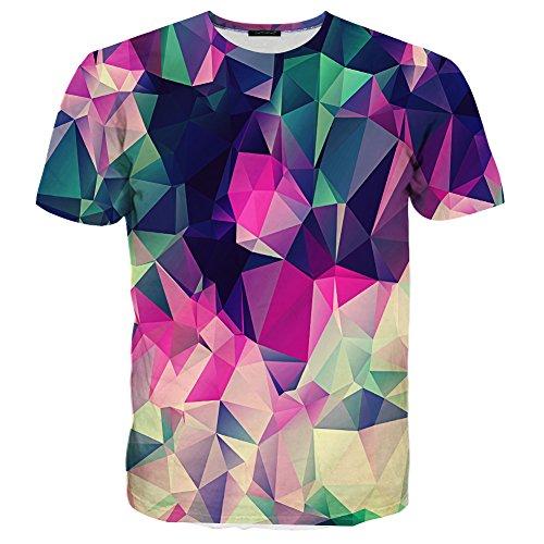 Syaimn Unisex 3D Pattern Print Kurzarm T-Shirts Beiläufige Grafik T-Shirts Plaid
