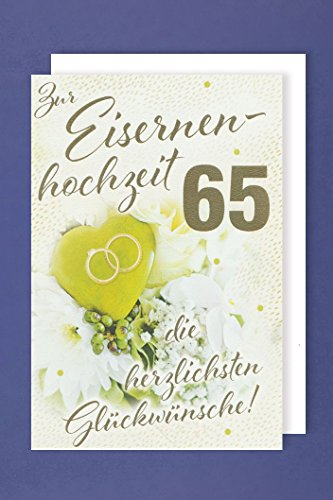 Eisernen Hochzeit 65 Grußkarte Blumenstrauß Ringkissen Ringe 16x11cm
