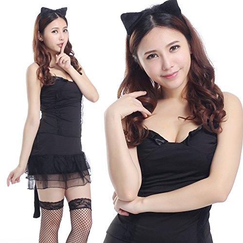 Preisvergleich Produktbild [Cosplay] Party-Freak GO! GO! Katze Muschi Tochter einen Satz von 5 Punkten (Leibchen + Rock + Katze Ohrringe + schwarze Handschuhe (ein + Struempfe) A332