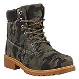 Warm Gefütterte Worker Boots Damen Outdoor Stiefeletten Robust 152609 Camouflage Brooklyn 38 Flandell