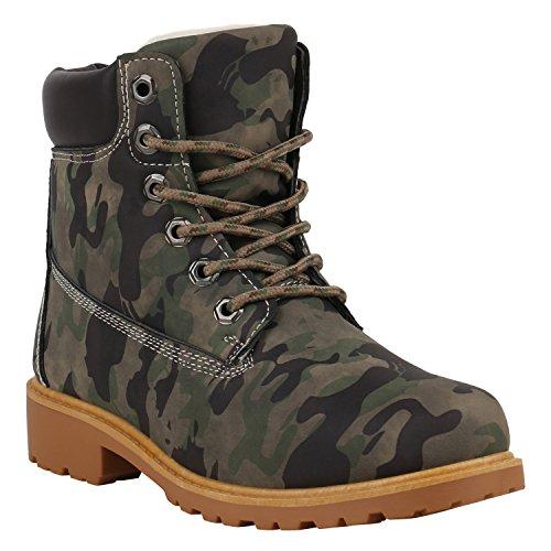 Für Kaltes Kostüm Wetter Gute - Warm Gefütterte Worker Boots Damen Outdoor Stiefeletten Robust 152609 Camouflage Brooklyn 39 Flandell
