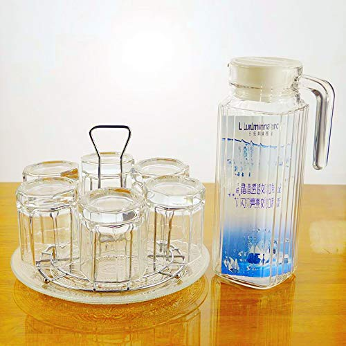 Tea Cup Set Six Octagonal Glasses for Household Drinking Water Transparent and Simple, Coverless and Heat Resistant,6 Cups Cup Holder 1.1L Vertical Pot Plate