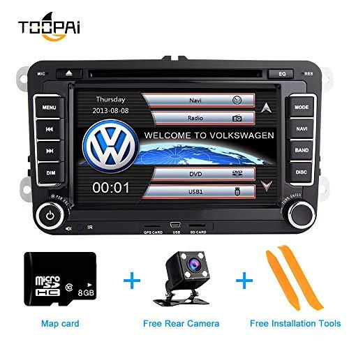 Autoradio Stereo, ZLTOOPAI für VW Seat Skoda Doppel-Din-Head-Einheit 7-Zoll-kapazitiver Multi-Touchscreen-Autoradio GPS-Radio mit kostenloser Kartenkarte Rückfahrkamera Removal Tools