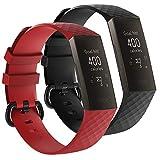 AFUNTA - 2 Bandas Deportivas de Silicona compatibles con Fitbit Charge 3 y Charge 3 edición Especial, Reloj Inteligente de Repuesto Suave Correa de muñeca Transpirable, Rojo y Negro