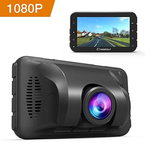 Crosstour Dashcam 1080P Full HD Caméra pour Voiture avec 3 pouces LCD Écran, 650NMLentille, WDR, Capteur-G, Enregistrement en Boucle et Détection de Mouvement