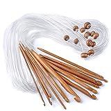 Bermud Tunesische Bambus Afghanische Häkelnadel verschwelt Bambus Nadel Teppich Extended Crochets in Verschiedenen Größen ( 3-10mm) Gesamtlänge von 1,2 m