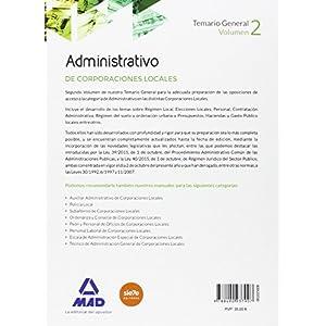 Administrativos de las Corporaciones Locales. Temario General. Volumen 2