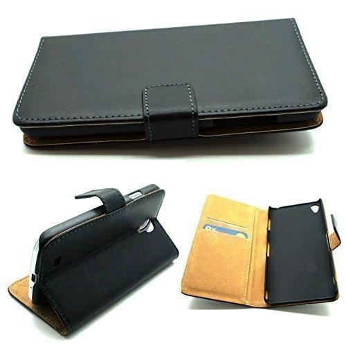 Custodia a portafoglio in pelle premium nera con stand per Sony Xperia Z3