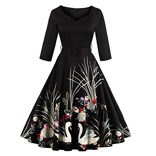 Allouli Elegant Swan Black Print 50s Vintage Women Dress V Neck 3/4 Long Sleeves Belt High Waist With Zipper Swing Party Retro Female Dresses (Long Spandex-v-neck Sleeve)