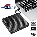 Externes DVD Laufwerk USB 3.0, Vkaiy Slim Tragbaren Externe CD DVD RW Laufwerk Brenner für Win 98SE/ME/2000/XP/Win 7/Win 8/Win 10/ Mac und Laptop, Desktop, Notebook (Schwarz)