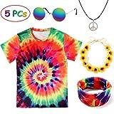 Tacobear Hippie Kostüme für Damen Herren Hippie Brille Hippie Kette Hippie T-Shirt Hippie Blumenhaarband Tie-Dye Stirnband Hippie Accessoires für Themenparty Fasching Karneval