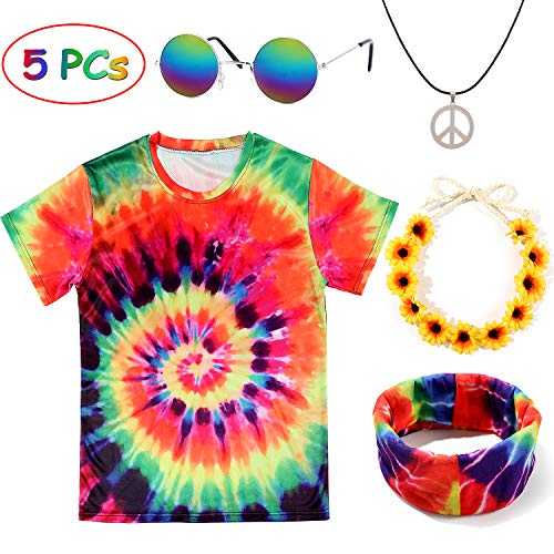 Hippie Costume Set. Tie Due T-shirt with Accessories