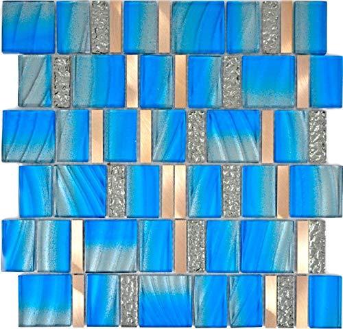 Aluminium Mosaik (Aluminium Mosaik Glasmosaik ALU blau Wand Küche Dusche Bad Fliesenspiegel|WB88-0004|1Matte)