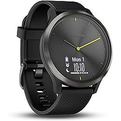 Garmin Vivomove HR Sport Smartwatch analógico con pantalla táctil, tipo de pantalla OLED, sensor de cardio integrado, negro con correa de silicona negra