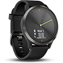 Garmin Vivomove HR Sport Smartwatch analógico con pantalla táctil LCD, sensor de cardio integrado, negro con correa de silicona negra