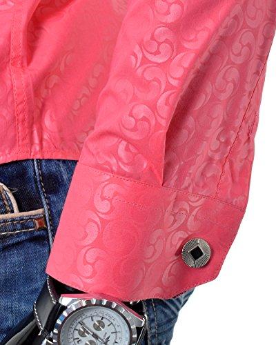 D&R Fashion smart shirt con la rotella del modello di Gioia Shimmering nonno Collare e Gemelli Rosa
