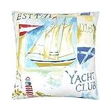 GARNI Evans Lichfield Yacht Club Bateau Phare Bord de mer Bleu Blanc Rouge 100% coton Coussin
