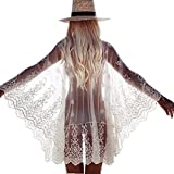 ASSKDAN Damen Boho Handstickerei Spitze Bikini Cover Up Cardigan Pareos Strandkleider Bademode (One Size, Weiß)