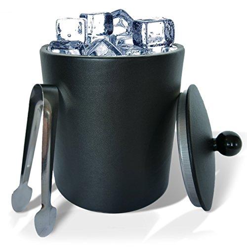 GranRosi Luxor Eiswürfelbehälter mit Deckel und Eiszange - exklusiver Edelstahl Eiseimer mit Leder Ummantelung, schwarz