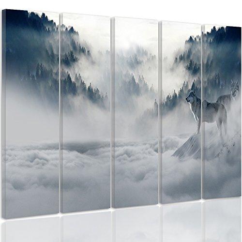 Feeby. Tableau multi panneaux - 5 parties - Impression sur toile, Décoration murale, Image imprimée, Type C, 150x100 cm, FORÊT, LOUPS, NATURE, GRIS