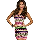 Jaune Aztec Bodycon Short Dress (Small, ...