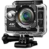 Piqancy 4K WiFi Sports Action Camera Ultra HD 1080P HDMI With Case 2 Rechargeable Batteries, Support 64GB SD Card Compatible With Android, IOS, Tablet, PC. Black