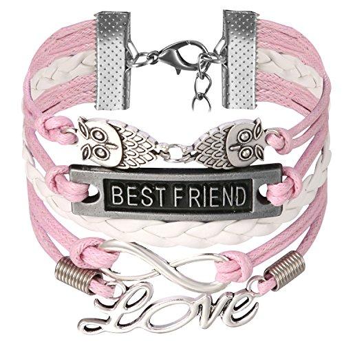 Imagen de jewelrywe pulsera infinito infinity best friend brazalete de hilos y cuero trenzado, pulsera boho chic rosa blanca para el verano, vintage pulseras de mujer original 2017