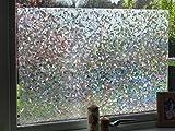 Sichtschutzfolie / Fensterfolie / Dekofolie, 3D, wiederverwendbar, Vinyl, Milchglas-Effekt, 1 m x 90 cm, Kristall Design