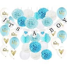 Decoración para baby shower para niño es un niño banderines, es un niño globos con