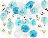 Decoración para baby shower para niño es un niño banderines, es un niño globos con papel de seda, pompones y linternas de papel para decoración de la ducha de bebé
