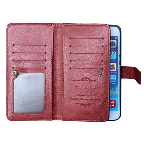 iPhone Case Cover Étui pour iPhone 6S PLUS, couleur unie Étui en cuir PU de haute qualité Housse pour Wallet pour iPhone 6S PLUS ( Color : Rose , Size : 6S Plus ) Brown