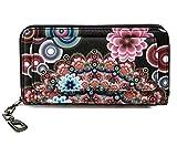 Damen Geldbörse Portemonnaie bunt groß mit Blumen-Print XL Damenbörse mit Reißverschluss und extra viele Kartenfächer in Farben Schwarz Blau Beige Rosa Rot Pink von ESTABLISHED SEVENTY9, Farbe:Altpink
