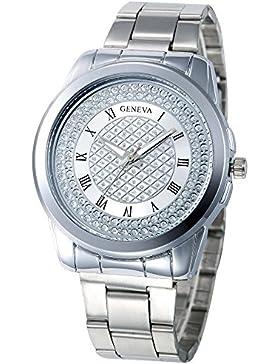 Hunpta Mode Damen Frauen Unisex Edelstahl Strass Quarz-Armbanduhr (Silber)