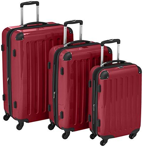 HAUPTSTADTKOFFER - Alex - 3er Koffer-Set Trolley-Set Rollkoffer Reisekoffer Erweiterbar, 4 Rollen, (S, M & L), Rot