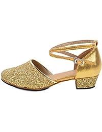 OCHENTA Niña Bailarina Zapatos Punta Cerrada Moda Zapatilla de Ballet para Niña pequeño/Grande