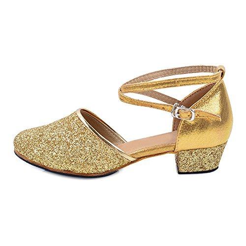 Girls Glittering Closed Toe Latin Salsa Scarpe da Ballo Scarpe da Festa Oro Indoor Tag 36 - EU 36