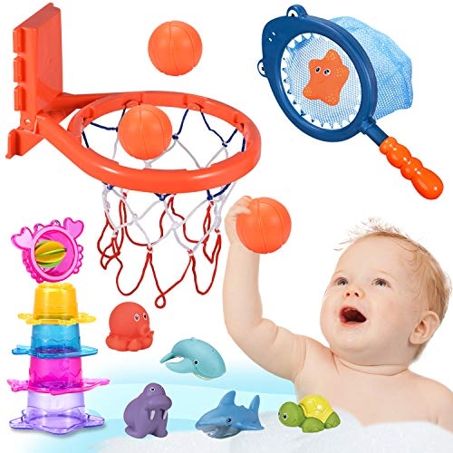 Joyjoz Baby Badespielzeug Basketballkorb Kinder Badewannenspielzeug Stapelbecher Baby Badewanne Wasserspielzeug Kinder